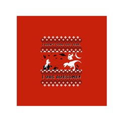 I Wasn t Good This Year, I Was Awesome! Ugly Holiday Christmas Red Background Small Satin Scarf (square) by Onesevenart