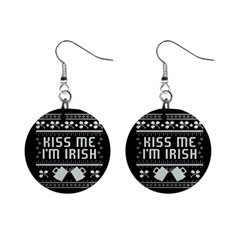 Kiss Me I m Irish Ugly Christmas Black Background Mini Button Earrings by Onesevenart