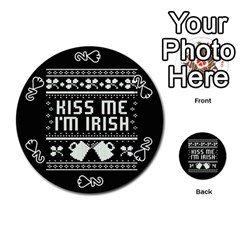 Kiss Me I m Irish Ugly Christmas Black Background Playing Cards 54 (round)  by Onesevenart