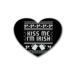 Kiss Me I m Irish Ugly Christmas Black Background Rubber Coaster (heart)  by Onesevenart