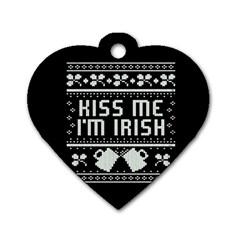 Kiss Me I m Irish Ugly Christmas Black Background Dog Tag Heart (two Sides) by Onesevenart