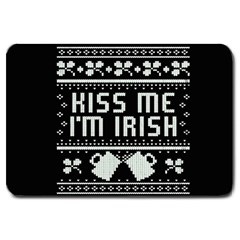 Kiss Me I m Irish Ugly Christmas Black Background Large Doormat  by Onesevenart