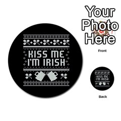 Kiss Me I m Irish Ugly Christmas Black Background Multi Purpose Cards (round)  by Onesevenart