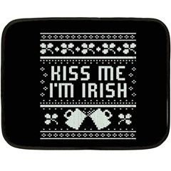 Kiss Me I m Irish Ugly Christmas Black Background Double Sided Fleece Blanket (mini)  by Onesevenart
