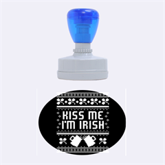 Kiss Me I m Irish Ugly Christmas Black Background Rubber Oval Stamps by Onesevenart