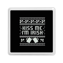 Kiss Me I m Irish Ugly Christmas Black Background Memory Card Reader (square)  by Onesevenart
