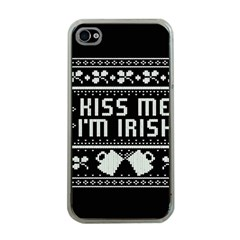 Kiss Me I m Irish Ugly Christmas Black Background Apple Iphone 4 Case (clear) by Onesevenart