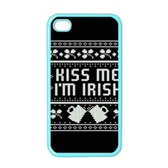 Kiss Me I m Irish Ugly Christmas Black Background Apple Iphone 4 Case (color) by Onesevenart