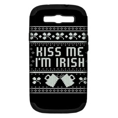 Kiss Me I m Irish Ugly Christmas Black Background Samsung Galaxy S III Hardshell Case (PC+Silicone) by Onesevenart