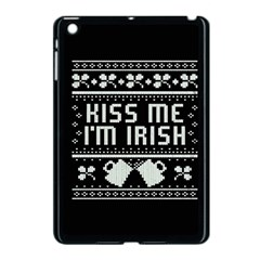 Kiss Me I m Irish Ugly Christmas Black Background Apple Ipad Mini Case (black) by Onesevenart
