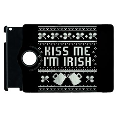 Kiss Me I m Irish Ugly Christmas Black Background Apple Ipad 3/4 Flip 360 Case by Onesevenart