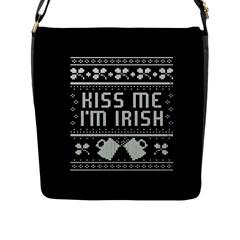 Kiss Me I m Irish Ugly Christmas Black Background Flap Messenger Bag (l)  by Onesevenart