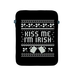 Kiss Me I m Irish Ugly Christmas Black Background Apple Ipad 2/3/4 Protective Soft Cases by Onesevenart