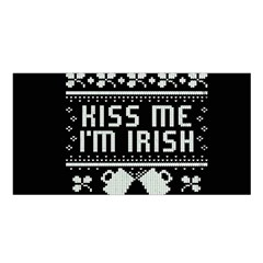 Kiss Me I m Irish Ugly Christmas Black Background Satin Shawl by Onesevenart