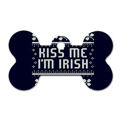Kiss Me I m Irish Ugly Christmas Blue Background Dog Tag Bone (one Side) by Onesevenart