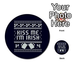 Kiss Me I m Irish Ugly Christmas Blue Background Multi Purpose Cards (round)  by Onesevenart