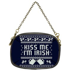 Kiss Me I m Irish Ugly Christmas Blue Background Chain Purses (one Side)  by Onesevenart