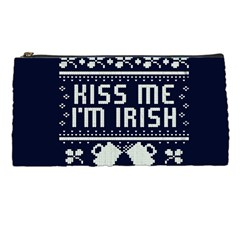 Kiss Me I m Irish Ugly Christmas Blue Background Pencil Cases by Onesevenart