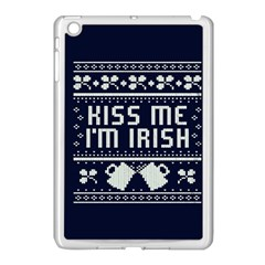Kiss Me I m Irish Ugly Christmas Blue Background Apple Ipad Mini Case (white) by Onesevenart