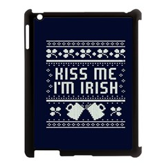 Kiss Me I m Irish Ugly Christmas Blue Background Apple Ipad 3/4 Case (black) by Onesevenart