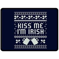 Kiss Me I m Irish Ugly Christmas Blue Background Double Sided Fleece Blanket (large)  by Onesevenart