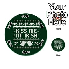 Kiss Me I m Irish Ugly Christmas Green Background Playing Cards 54 (round)  by Onesevenart