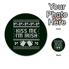 Kiss Me I m Irish Ugly Christmas Green Background Multi Purpose Cards (round)  by Onesevenart