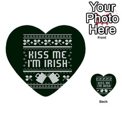 Kiss Me I m Irish Ugly Christmas Green Background Multi Purpose Cards (heart)  by Onesevenart