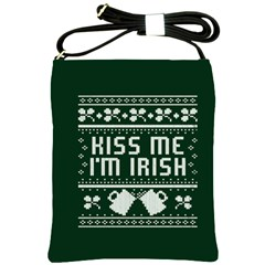 Kiss Me I m Irish Ugly Christmas Green Background Shoulder Sling Bags by Onesevenart