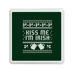 Kiss Me I m Irish Ugly Christmas Green Background Memory Card Reader (square)  by Onesevenart