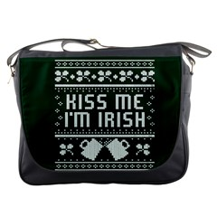Kiss Me I m Irish Ugly Christmas Green Background Messenger Bags by Onesevenart