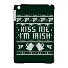Kiss Me I m Irish Ugly Christmas Green Background Apple Ipad Mini Hardshell Case (compatible With Smart Cover) by Onesevenart