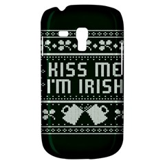 Kiss Me I m Irish Ugly Christmas Green Background Samsung Galaxy S3 Mini I8190 Hardshell Case by Onesevenart