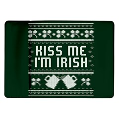 Kiss Me I m Irish Ugly Christmas Green Background Samsung Galaxy Tab 10 1  P7500 Flip Case by Onesevenart
