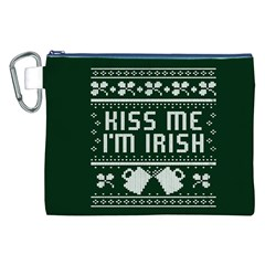 Kiss Me I m Irish Ugly Christmas Green Background Canvas Cosmetic Bag (xxl) by Onesevenart