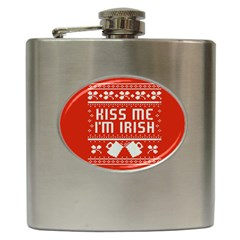 Kiss Me I m Irish Ugly Christmas Red Background Hip Flask (6 Oz) by Onesevenart