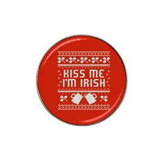 Kiss Me I m Irish Ugly Christmas Red Background Hat Clip Ball Marker (10 Pack) by Onesevenart