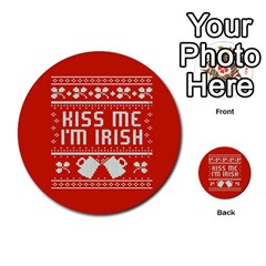 Kiss Me I m Irish Ugly Christmas Red Background Multi Purpose Cards (round)  by Onesevenart