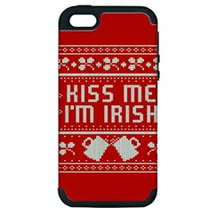 Kiss Me I m Irish Ugly Christmas Red Background Apple Iphone 5 Hardshell Case (pc+silicone)