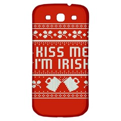 Kiss Me I m Irish Ugly Christmas Red Background Samsung Galaxy S3 S Iii Classic Hardshell Back Case by Onesevenart