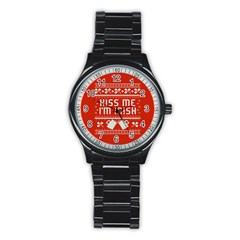 Kiss Me I m Irish Ugly Christmas Red Background Stainless Steel Round Watch by Onesevenart