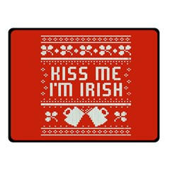 Kiss Me I m Irish Ugly Christmas Red Background Double Sided Fleece Blanket (small)  by Onesevenart