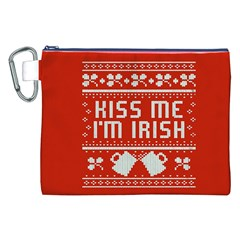 Kiss Me I m Irish Ugly Christmas Red Background Canvas Cosmetic Bag (xxl) by Onesevenart