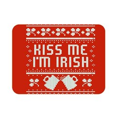 Kiss Me I m Irish Ugly Christmas Red Background Double Sided Flano Blanket (mini)  by Onesevenart