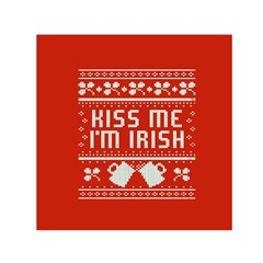 Kiss Me I m Irish Ugly Christmas Red Background Small Satin Scarf (square) by Onesevenart