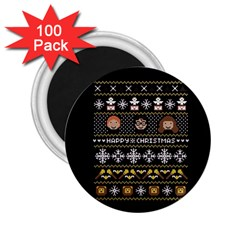 Merry Nerdmas! Ugly Christma Black Background 2 25  Magnets (100 Pack)  by Onesevenart