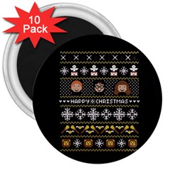Merry Nerdmas! Ugly Christma Black Background 3  Magnets (10 Pack)  by Onesevenart