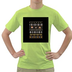 Merry Nerdmas! Ugly Christma Black Background Green T Shirt by Onesevenart