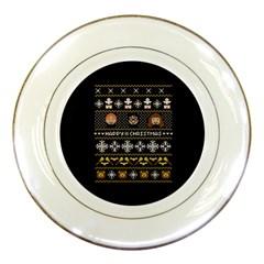 Merry Nerdmas! Ugly Christma Black Background Porcelain Plates by Onesevenart