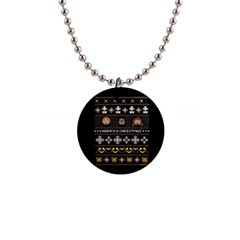 Merry Nerdmas! Ugly Christma Black Background Button Necklaces by Onesevenart